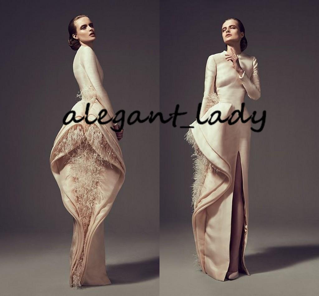 Desgaste ocasión champán manchas pluma vestidos de noche formales Ashi Estudio de la vendimia de manga larga de volantes rajó árabe vestido de fiesta