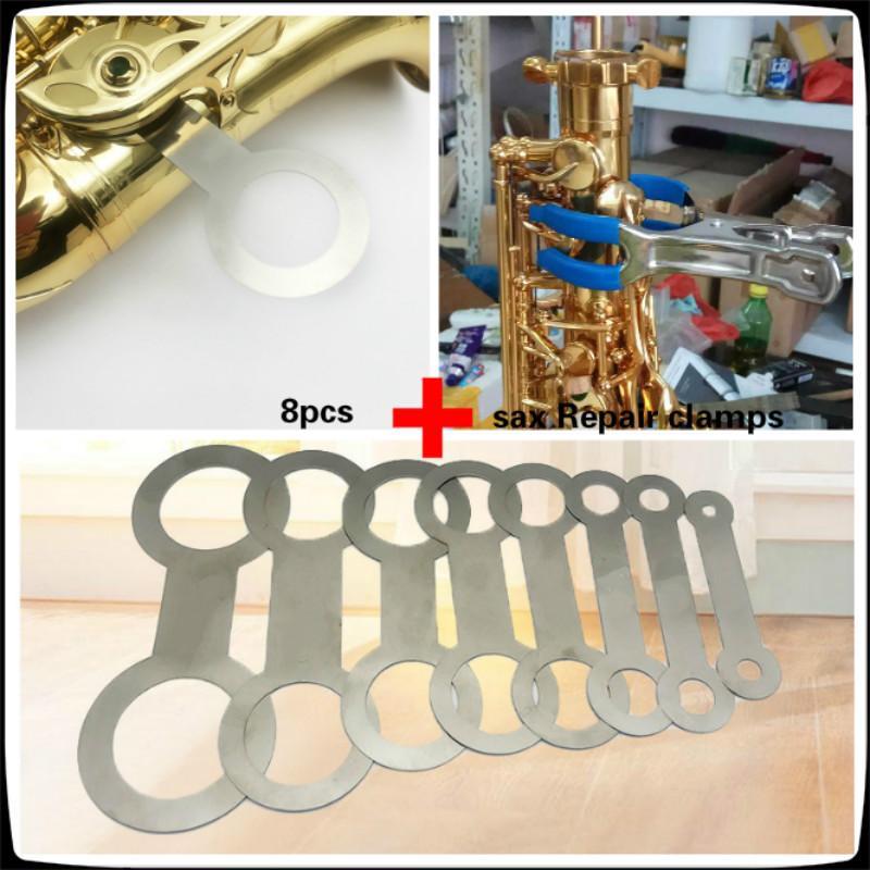 أدوات ساكسفون ساكسفون أدوات إصلاح آلات النفخ أداة ل8PCS وحة الحديد مع مقطع إصلاح ساكس كهدية