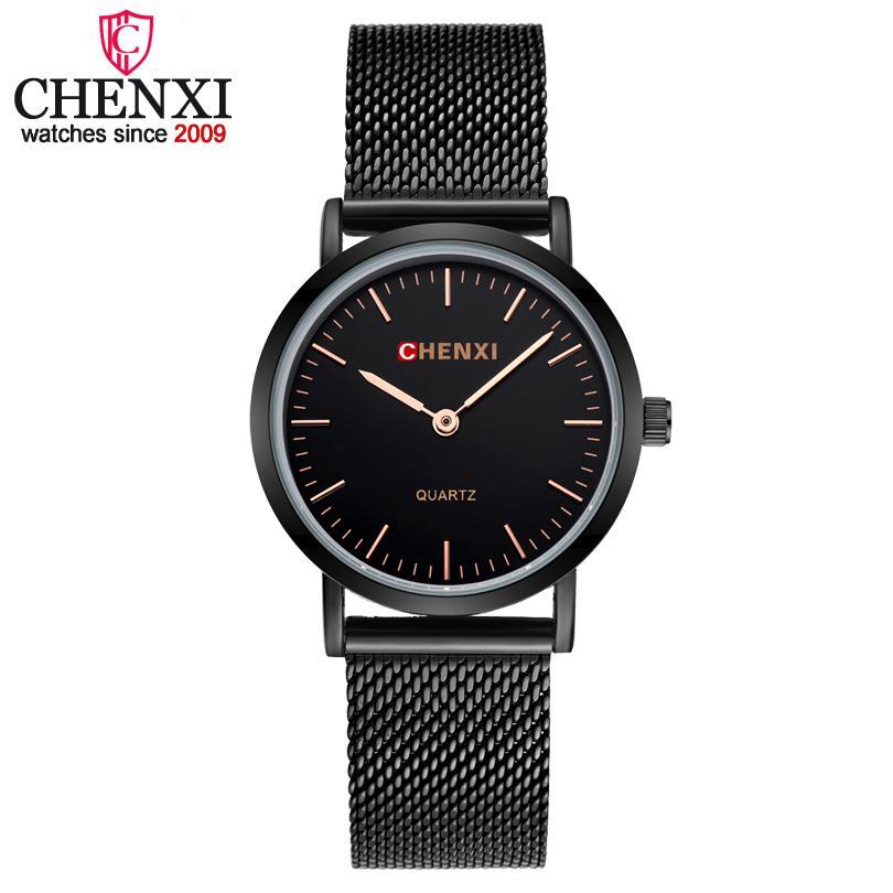 Moda relógio de alta qualidade de Chenxi Marca Negras Relógios Mulheres Ultra fina de quartzo relógios, jóias Pulseira Relógio Feminino