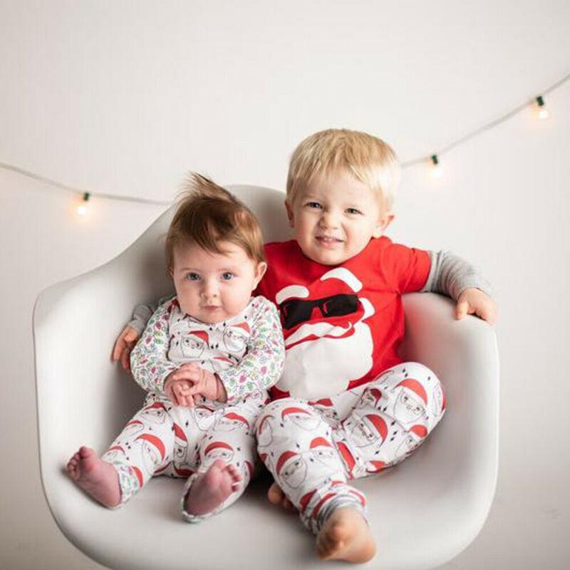 Natal Criança Crianças Baby Boy Girl Clothes Xmas Papai Noel Imprimir O-pescoço manga comprida Tops Calças compridas algodão macio Outfit outono