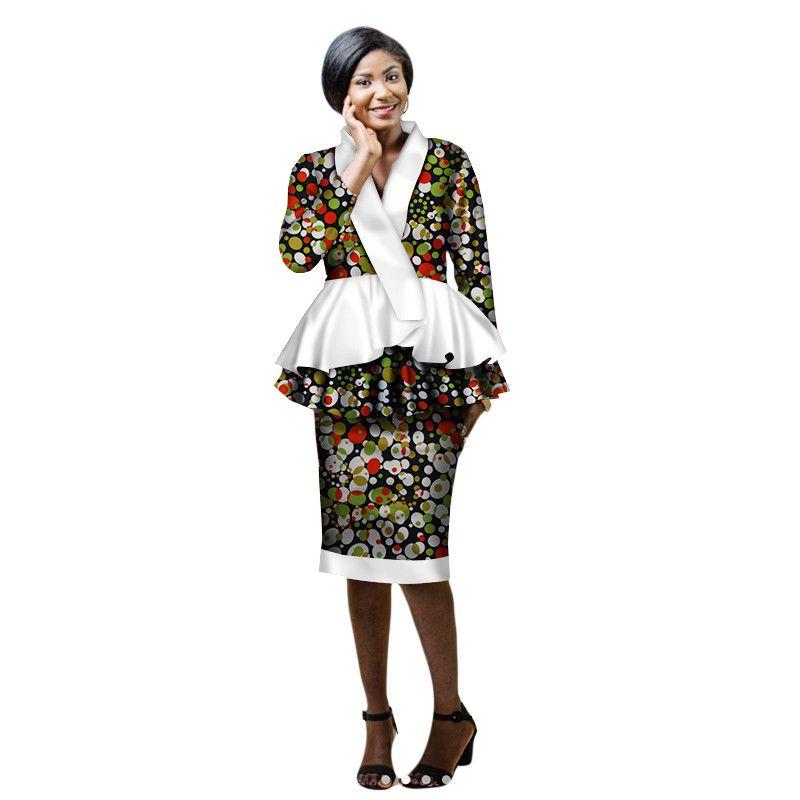 primavera Nuova gonna africana adatta Dashiki donna elegante donna casual set femme Bazin Riche cotone più dimensioni due pezzi BRW WY2203