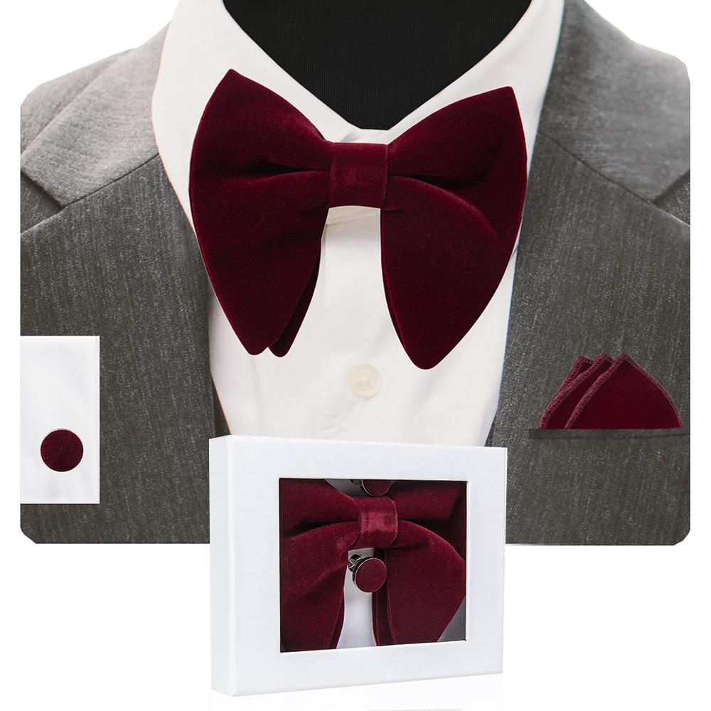 Velvet Big Bow Tie Men's Bowties Pocket Square Cufflinks Set with Gift Box Solid Red Yellow Necktie For Man Wedding