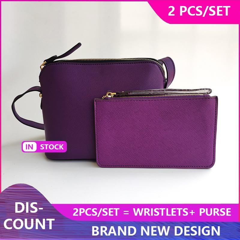 2ST Set-Marken-Entwerfer-Frauen PU-Leder Schultertasche Handtasche Wristlet Umhängetasche Shell Bags Messenger Bag Handtaschen
