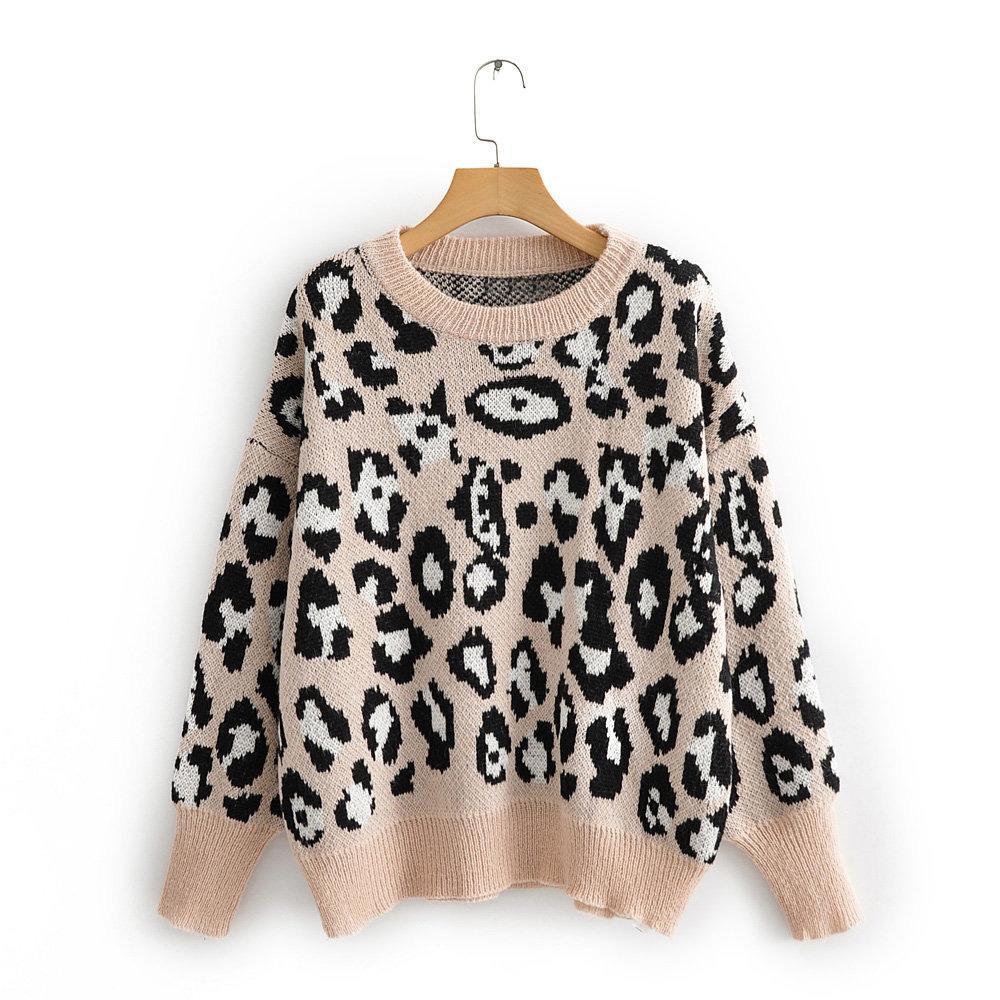 Leopard 2019 осень и зима новых женщин свитер Все матча рубашка с длинными рукавами Тонкий Женский пуловер O-образным вырезом