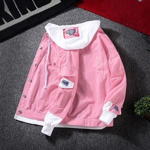 Giacche uomini incappucciati Patchwork Tempo libero allentato Harajuku Tutto-fiammifero Jacket Mens Patch Design Ulzzang Tasche autunno Chic Outerwear