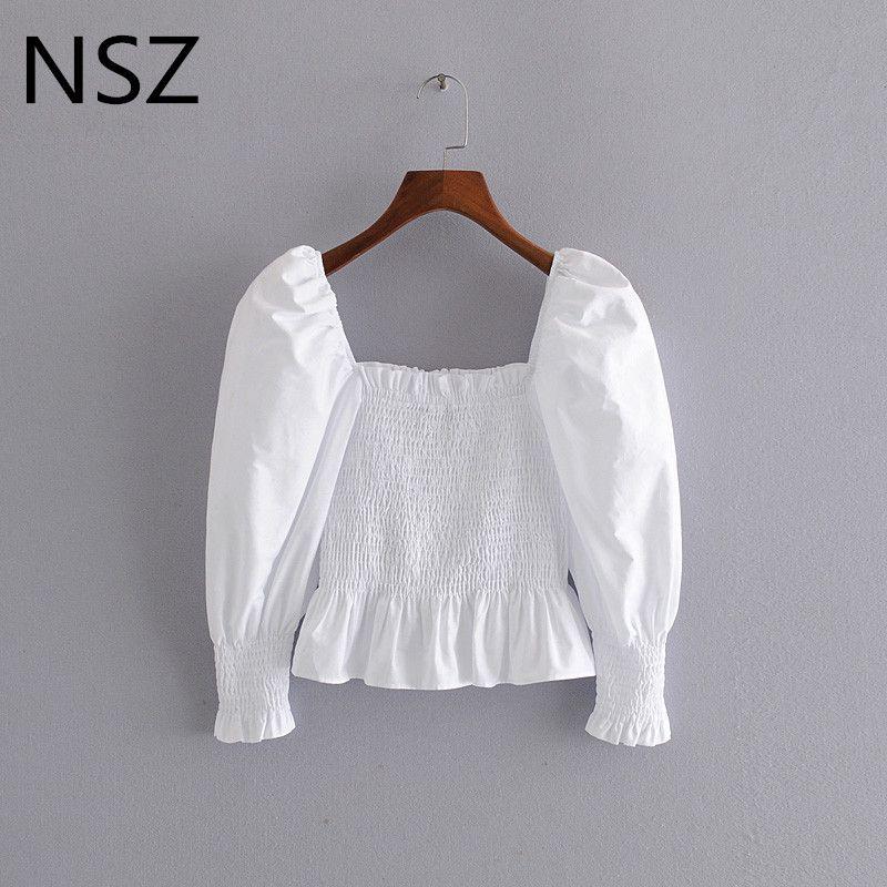 NSZ las mujeres blusa entallada blusa blanca de algodón de la cintura del corsé bustier camisa de la blusa atractiva del partido elástico superior peplum volantes blusa camisa