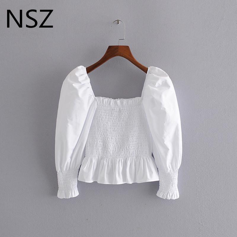 NSZ women white cotton crop top blouse elastic waist bustier shirt corset blouse sexy peplum top party ruffles blusa camisa