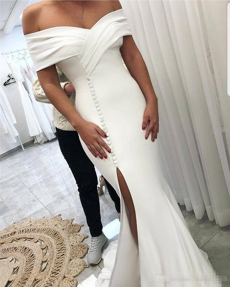 Dividir Frente Sexy Sereia Prom Dresses 2019 Fora Do Ombro Plus Size Cetim Branco Formal Evening Ocasião Vestidos Vestidos De Novia Barato