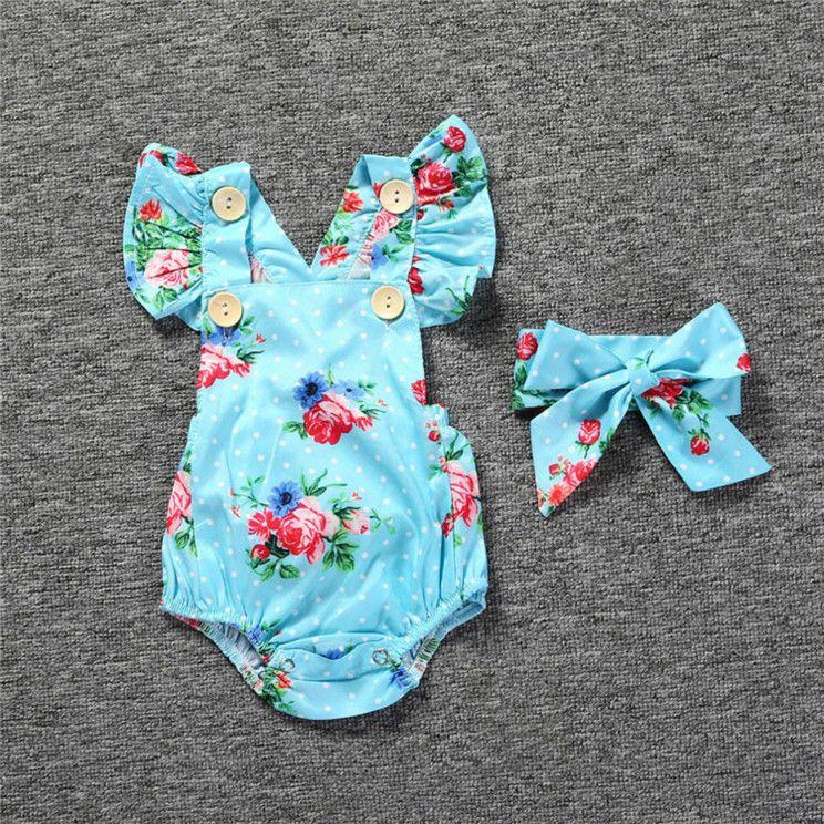 Enfants Designer Rompers Baby Girls Summer Fashion Marque Fleurs Impression Rompers 2020 Bébé Casual Jumpsuits respirants avec bandeau 5 Styles