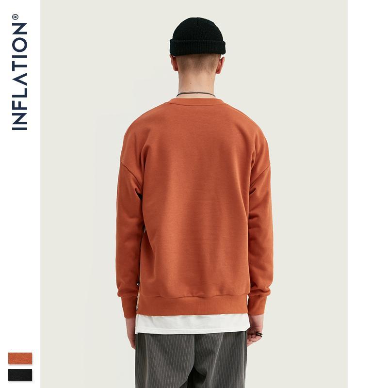 Drucken INFLATION Kinder Fleece In Orange und Schwarz Loose Fit Street Männer Sweatshirt 9630W Y200519