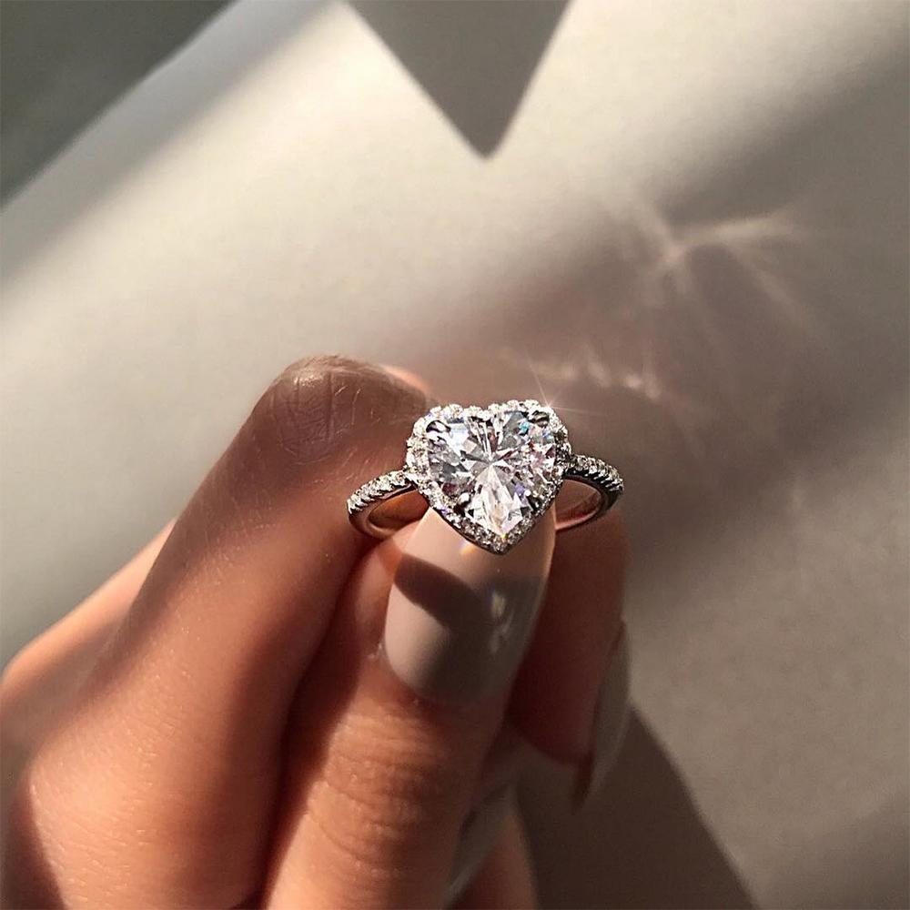 UK Women Silver Ring Rhinestone Crystal Finger Band Engagement Wedding Jewelry