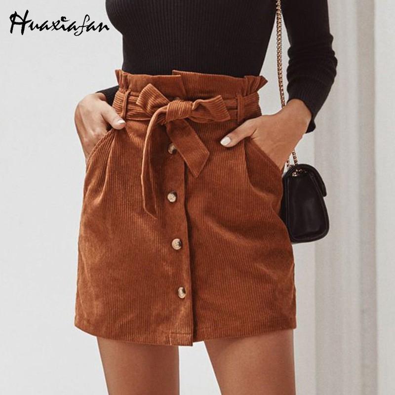 Huaxiafan Вельвет юбки пояса элегантный bottons женщины мини skirtshigh талии старинные твердые женский offfice линия юбка 2020 новый