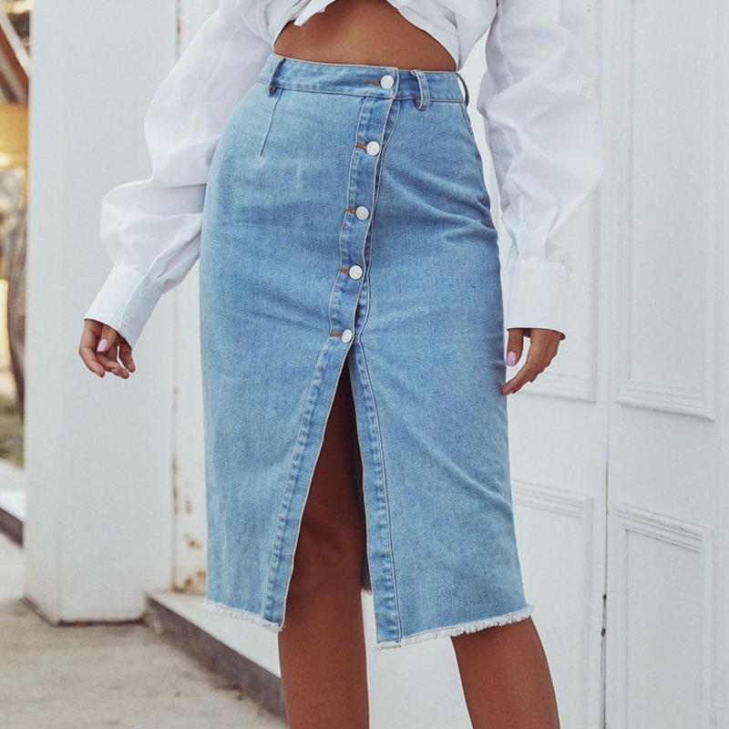 Otoño invierno 2020 botón Nuevo dril de algodón Wrap Abajo Frente de Split faldas de un solo pecho de cintura alta Lápiz Midi Jean azul de la falda de las mujeres