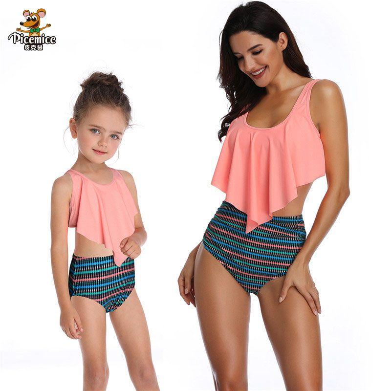 Yeni anne kızı Mayo Eşleştirme Aile Kıyafetler Beachwear Anne Ve Kızı Mayo Tüy Anne Ve Me Mayo