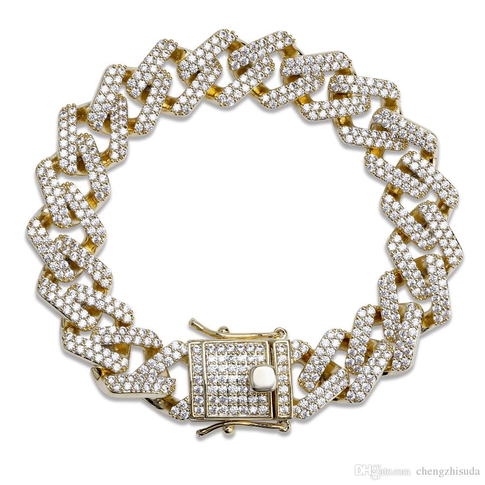 14mm 6/7/8/9/10inch Straight Edge Diamonds Cuban Link Chain Bracelet Gold Silver Iced Out Cubic Zirconia Hiphop Men Jewelry