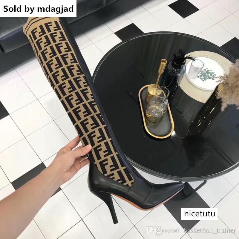 디자이너 여성 브랜드 부츠 배 노란색 가죽 무릎 부츠 여자의 허벅지 양말 부팅 캐주얼 신발