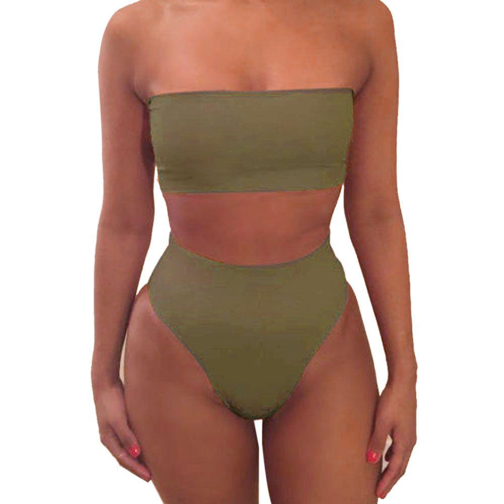 Sexy Bikinis Solid Push Up Bikini 2020 Hot Sale Straps High Waist Swimsuit Female Swimwear Women Biquini Beach Swimming