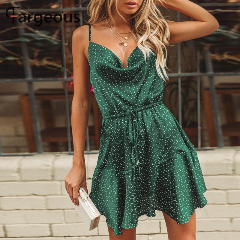 Fargeous Урожай зеленый горошек Stain платье Женщины 2019 лето сексуальный ремень Backless короткое платье девушки Стильная платье партии Vestidos