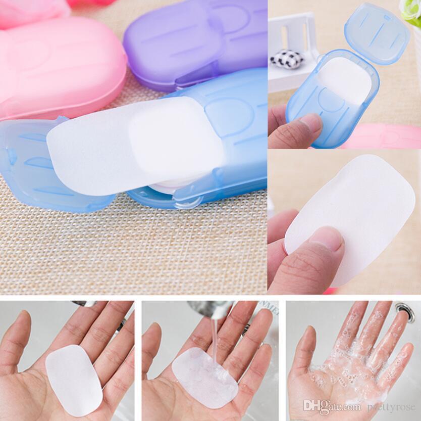 Hojas de papel jabón desinfectante lavado de manos mini jabón perfumado desechable Slice Espuma de jabón caja de papel de color al azar 20pcs / set