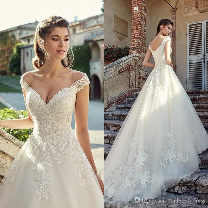 2020 Stunning Off Shoulder Lace Wedding Dresses Applique Tiered Tulle Garden Elegant Cheap Wedding Dress Bridal Gowns Vestidos De Novia