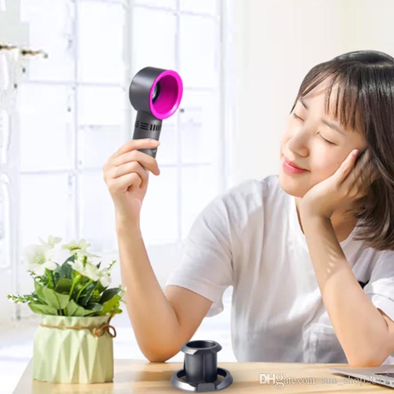 Ultra Sessiz Protable El Soğutma Fanı USB Mini Masaüstü Bladeless Fan Şarj Edilebilir Hiçbir Yaprak Handy Çocuk Çocuklar Güvenli Dördüncü Generati