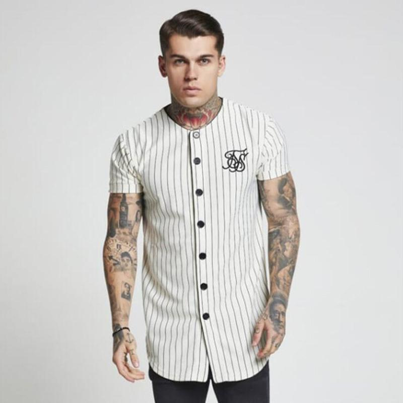 Moda Verão 2018-2019 Homens Streetwear Hip Hop Camisetas Sik Seda Camisa de Beisebol Bordado Listrado Camisa Homens Roupas de Marca Y19060601