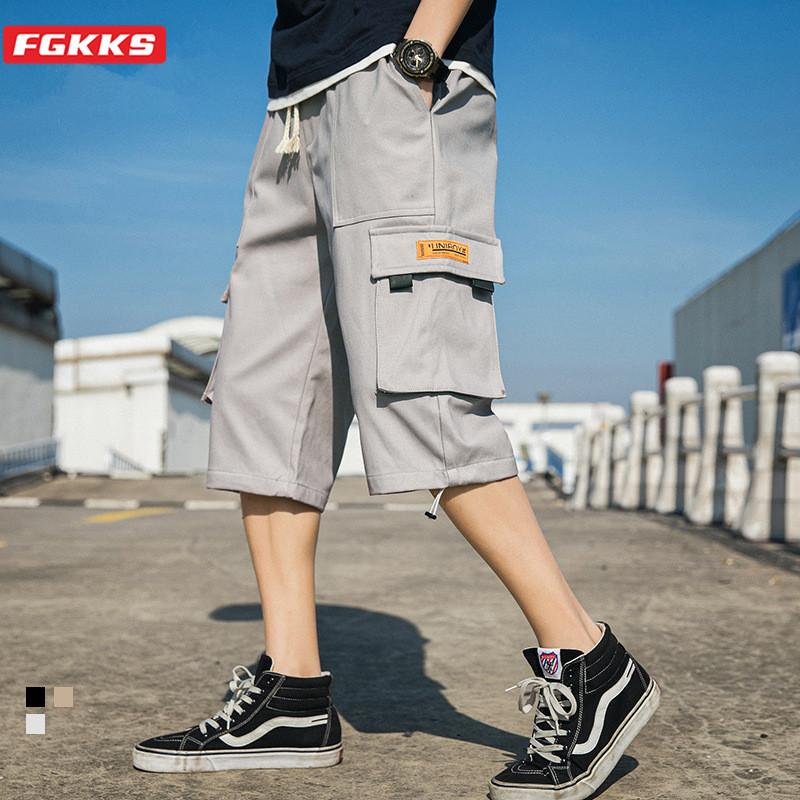 Men's Pants FGKKS Brand Men Summer Fashion Leisure Trousers Mens Casual Solid Color Loose Cropped