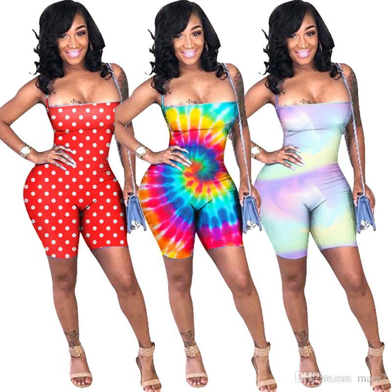 Macacões das mulheres Rompers Atacado Cintos Skinny Strappy Listrado Sem Mangas Macacão bodycon leggings shorts sem encosto Verão roupas 97