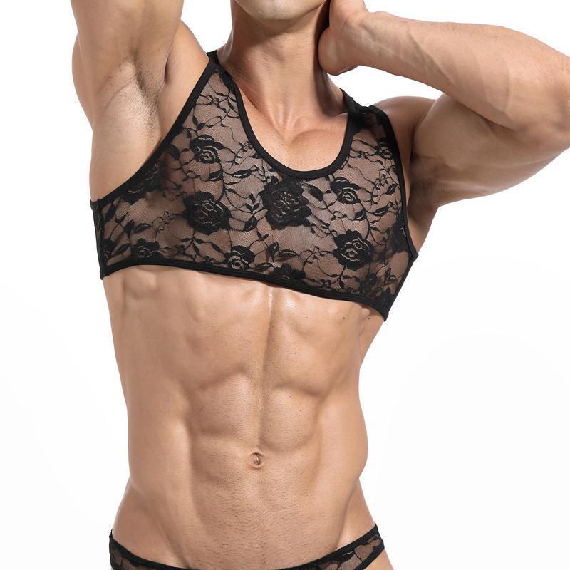 Mangas de los hombres camisas sin mangas de los hombres de fitness Camisa para hombre singlete culturismo entrenamiento gimnasio aptitud del chaleco de los hombres de encaje sin mangas Pequeño