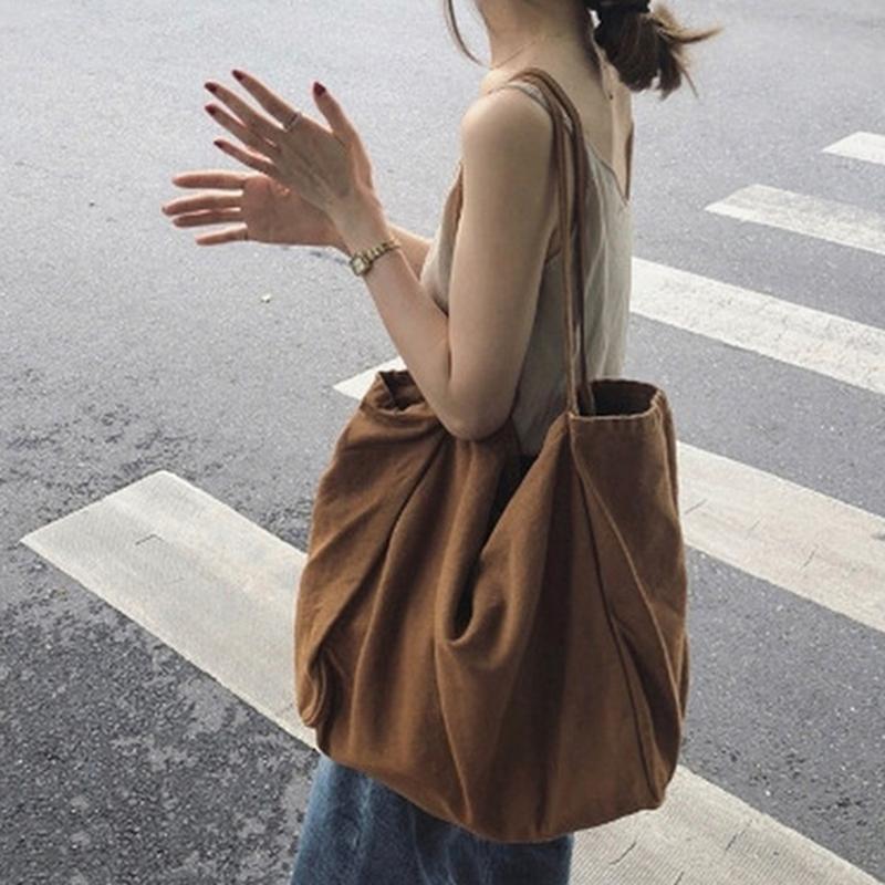 Donne Grande Tela Shopping Bag Riutilizzabile Soild Colore Grande Capacità Tote Grocery Bag Shopping Borse A Spalla