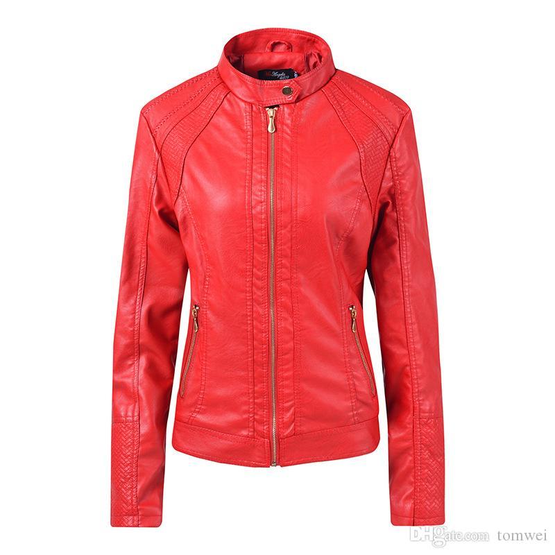 Womens Spring Coats Fashion long Sleeve Zipper Ladies PU Leather jacket Motorcycle jacket Female Short Jackets Overcoat Tops New Fashion