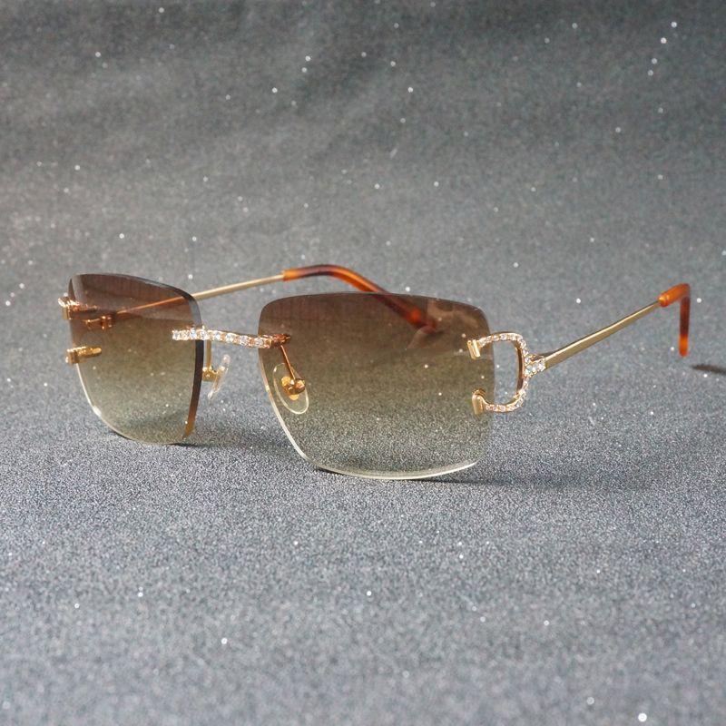 Rhinestone C de lujo C alambre de gafas de sol óvulas sin montura para hombres, marco de metal, sombras cuadradas para mujeres, club de verano, oculos, gafas