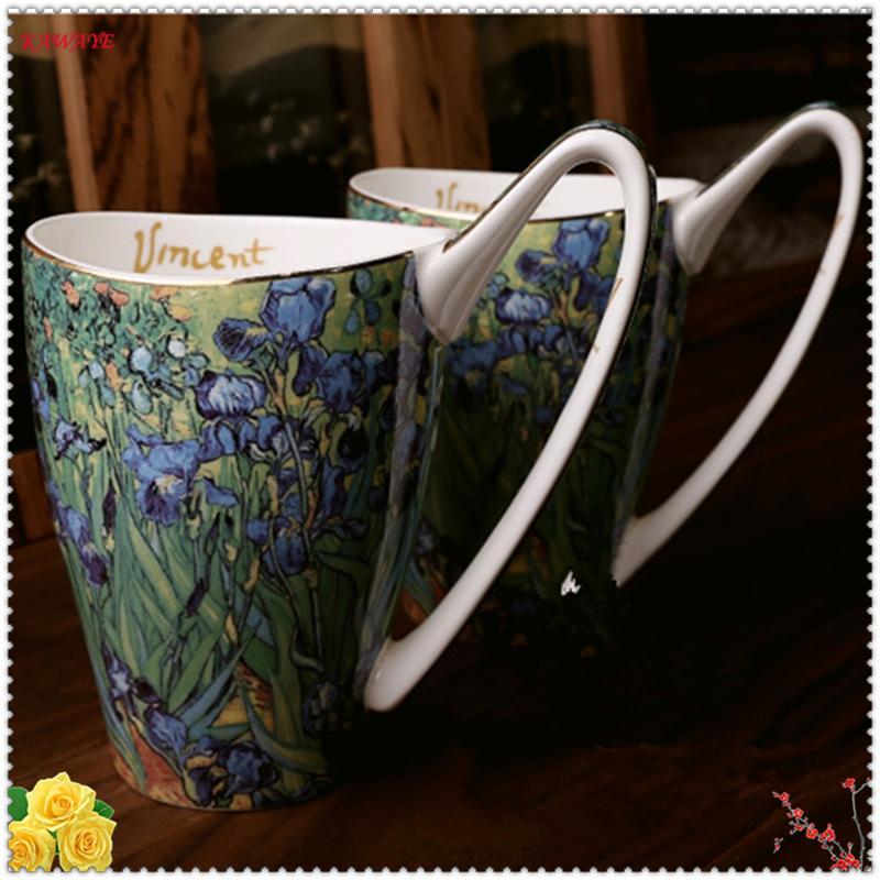 1pcs Large Capacity Retro Couple Gift Mugs Ceramic Coffee Cup Fine Bone China Porcelain Cup Creative Big Handle Tea Mug 6ZDZ316