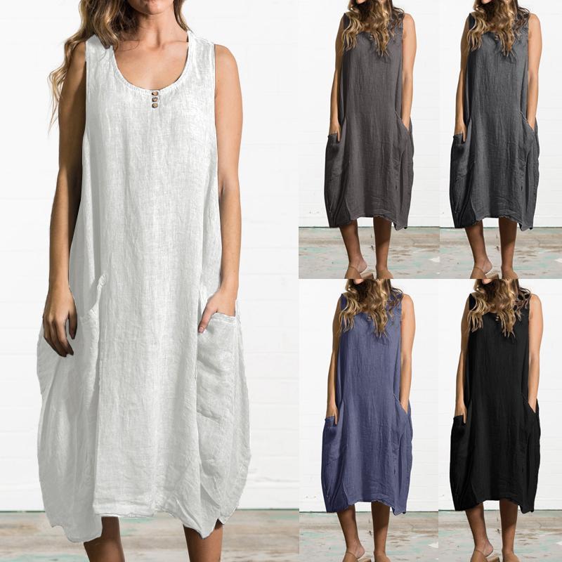 Vente chaude Femmes Casual mi-mollet robe d'été sans manches Femme sexy poches en vrac Chemise de plage Robe Taille Plus Robe Vestidos