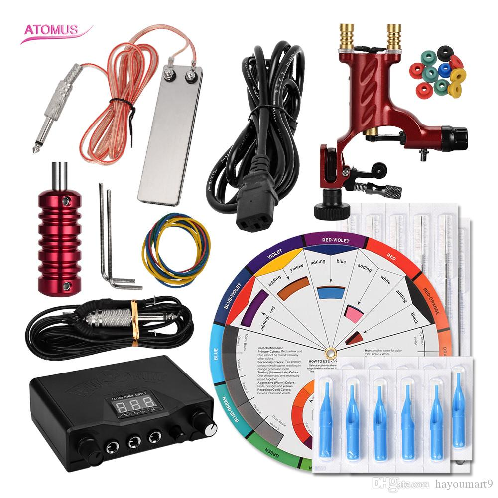 Completa Pro Completa Kit de Tatuagem Rotary Caneta Metralhadora Set Profissional Kits de Tatuagem Rotativa Máquina Set Completa Kit Profissional Kits Profissionais
