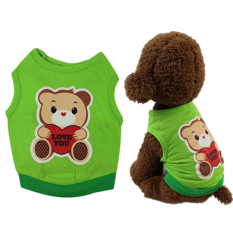 XS-L del chaleco del perro del animal doméstico lindo del oso de la historieta de la camiseta camisa del perro de primavera / verano ropa para mascotas en Perros Gatos perrito ropa al por mayor 40JA17