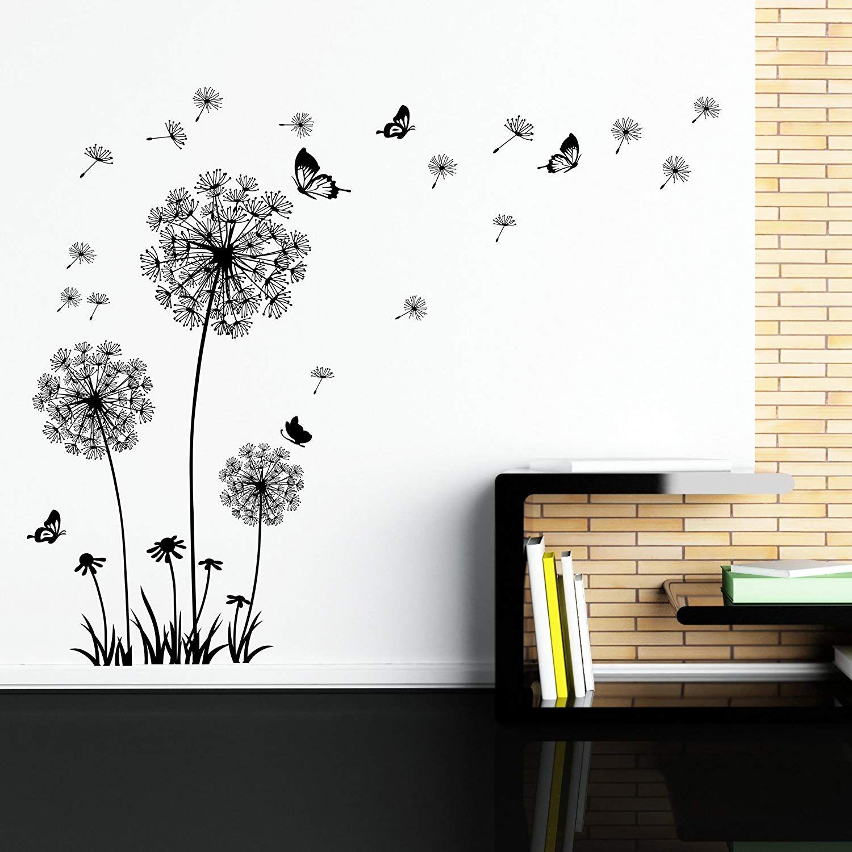 Dandelion Wall Decal - ملصقات الحائط Dandelion Art Decor- قشور الفينيل الكبيرة القابلة للإزالة والعصا القابلة للإزالة بواسطة
