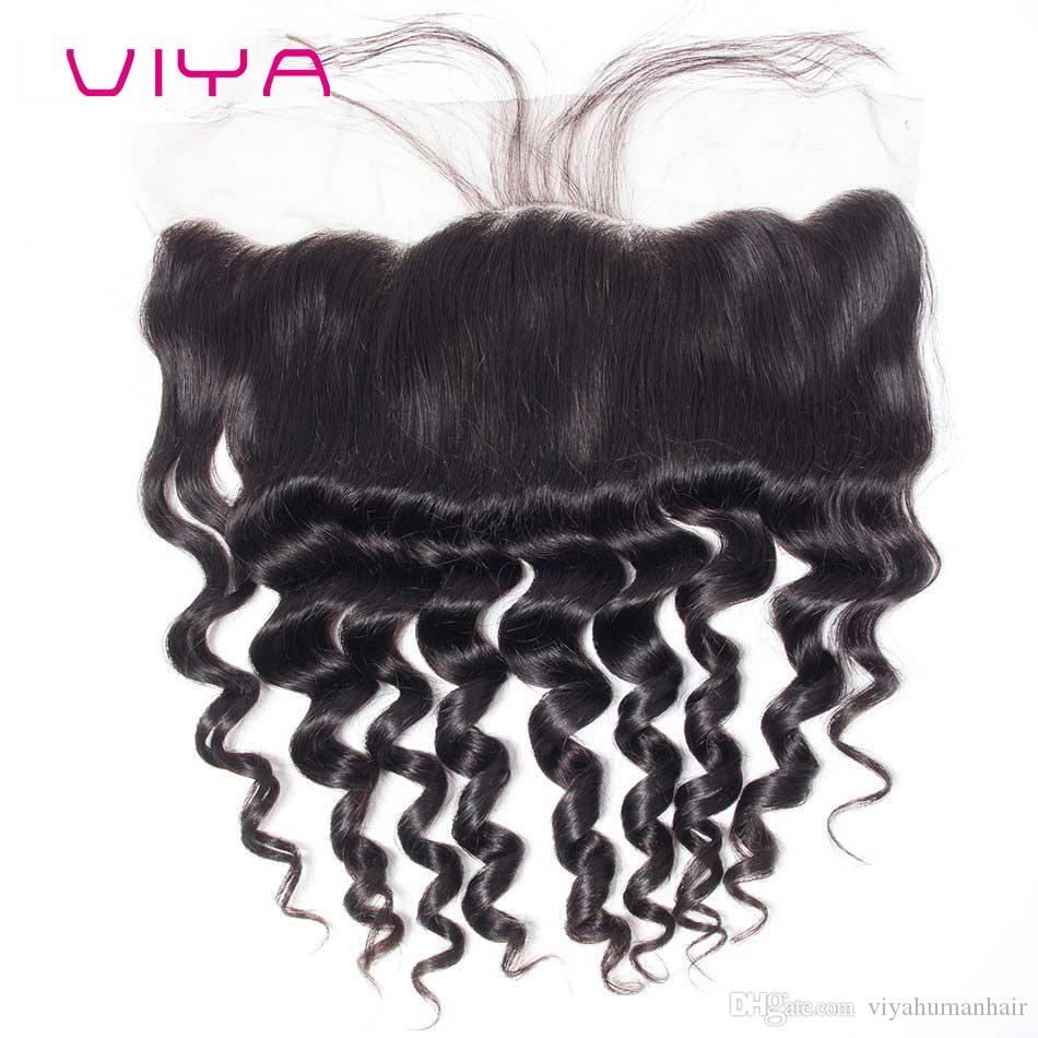 VIYA HAIR Mongolian Curl Loose Hair Human Swiss Swiss Front Frontal 13 * 4 With Baby Hair Free Part
