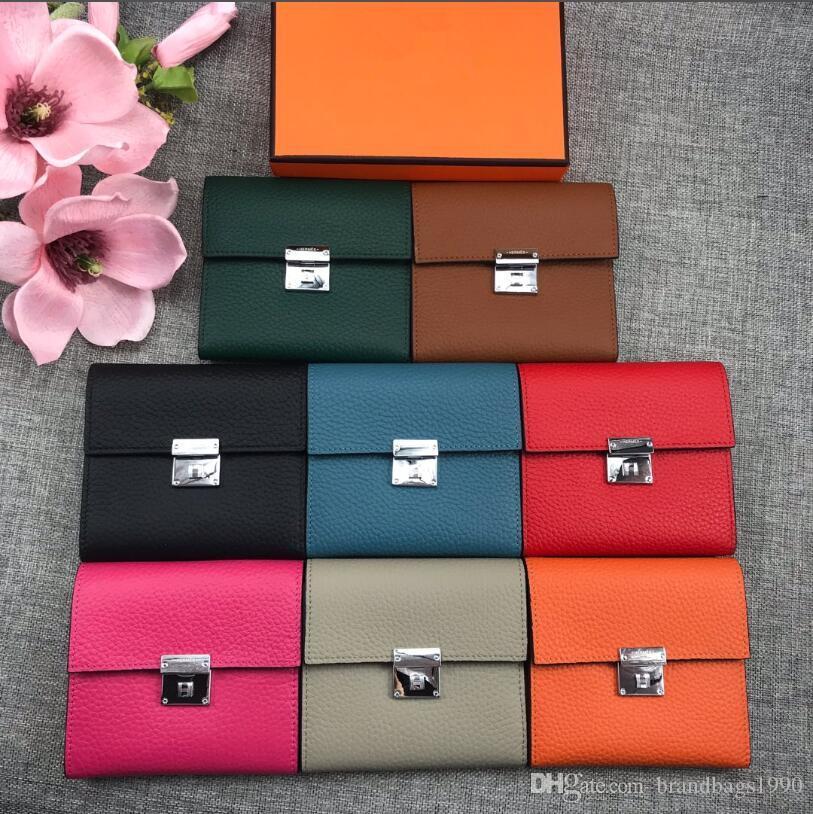 De qualité supérieure souple en cuir court Portefeuilles entier porte-cartes Porte femmes mode Sacs Cowskin cuir véritable viennent avec la boîte