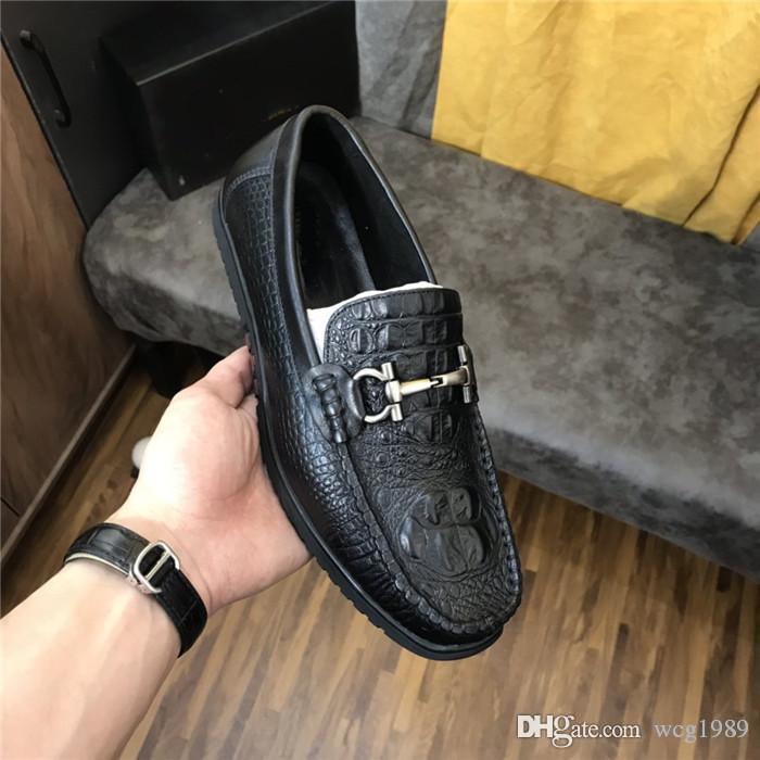 sapatos de couro casuais novos de luxo designer de produtos dos homens high-end todos os top tamanho leve e confortável feitos à mão 38--45