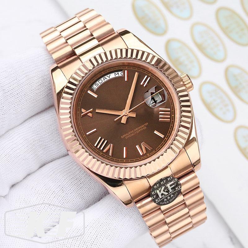 Mode Or Rose Luxe Mesdames Femmes Hommes Sapphire Designer Mouvement mécanique automatique Daydate Montres-bracelets Kfactory Montres
