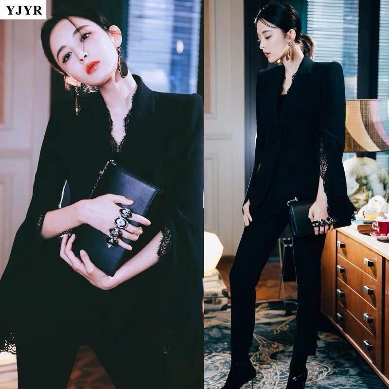 De haute qualité 2019 nouvelle star avec le même paragraphe dentelle noire costume étranger deux pièces costume féminin