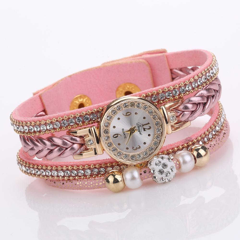 Fashion Pearl Bracelet Watch Ladies Dress Leather Quartz Wrist Watch Fashion Woven Twist Crystal Women Watches female relogio