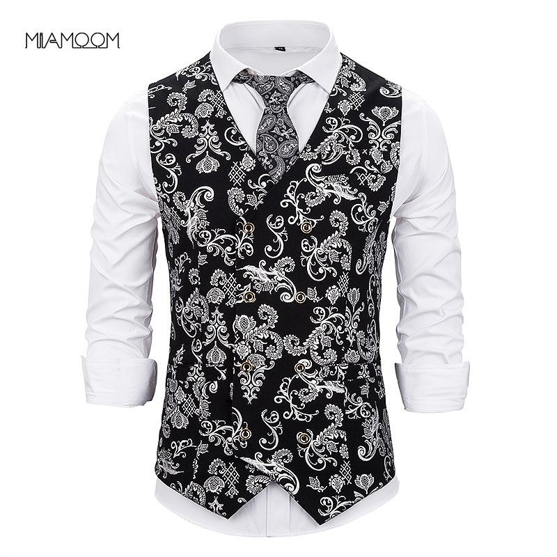 MIAMOOM Costume Hommes Gilet New Arrival Casual Mode Gilet Gilt imprimé à double boutonnage