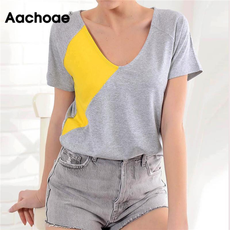 Aachoae verano de las mujeres T Shirts Harajuku remiendo señoras de la camiseta V del cuello atractivo del Top de manga corta floja ocasional de la túnica Camiseta Femme