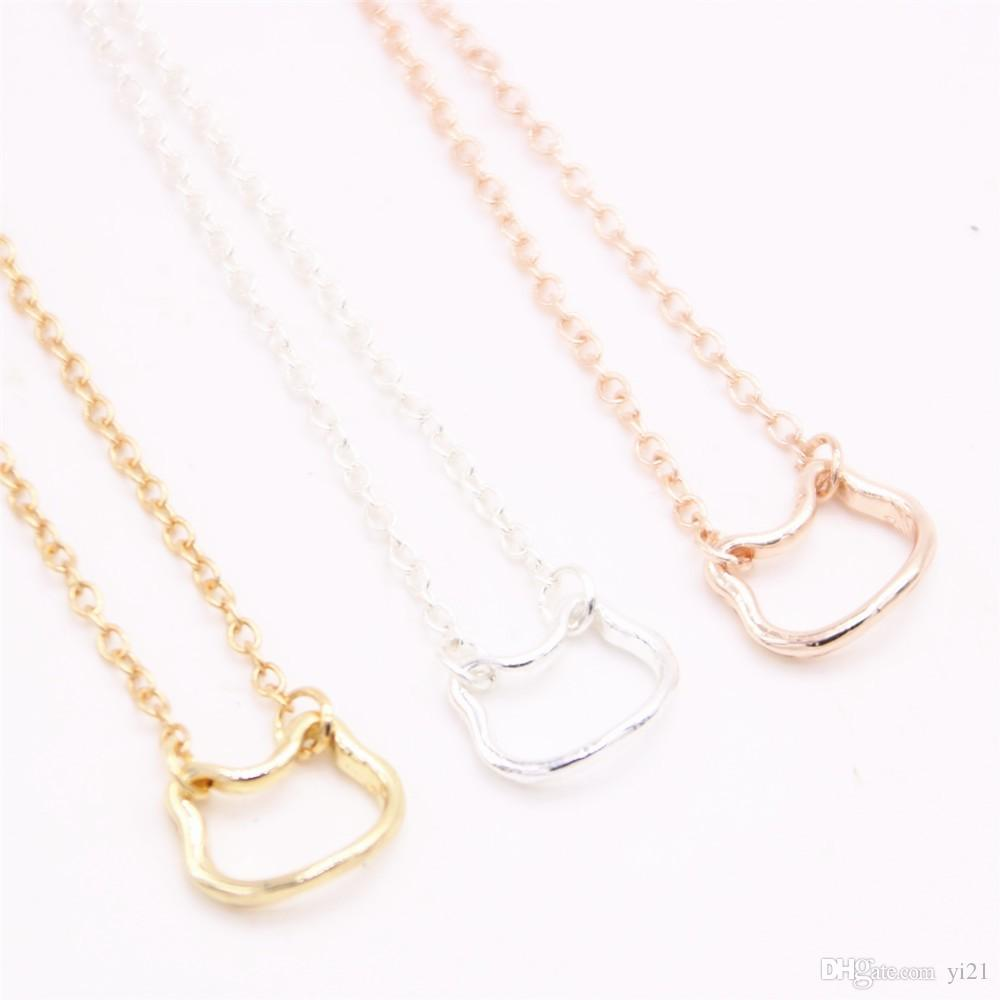 Colorful animal pendant necklace hollow out cat head pendant necklace designed for women