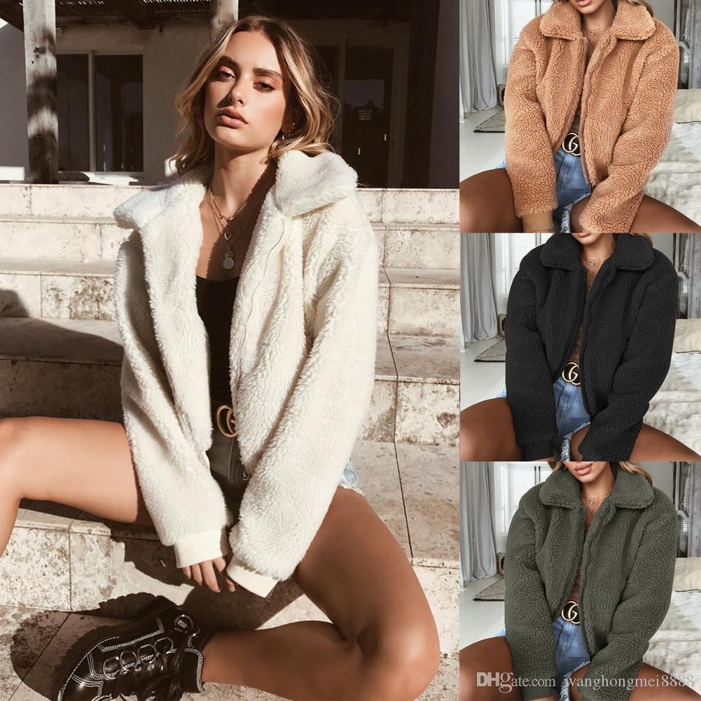 النساء أزياء السيدات معطف الشتاء منفوش أشعث فو الفراء معطف دافئ سترة سترة سيدة عارضة أبلى بيع