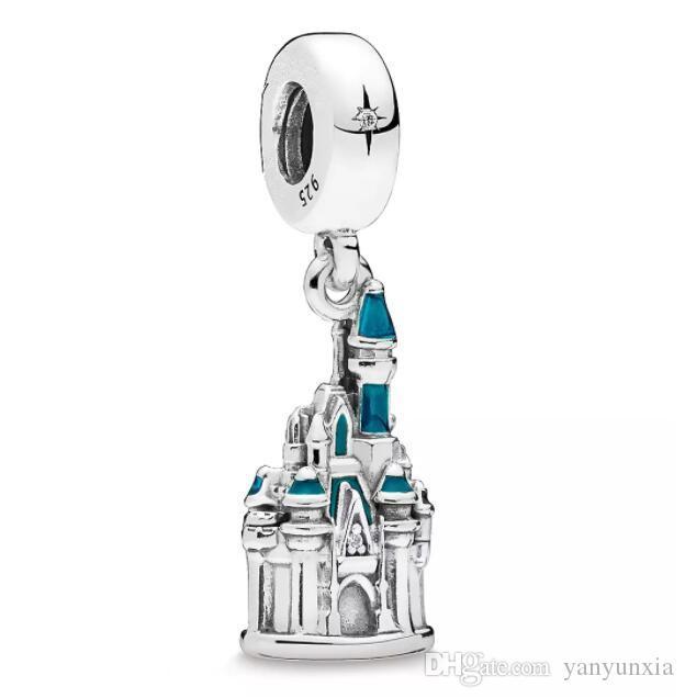 الأصلي 925 فضة Baeds قلعة سندريلا والت Diney العالم سحر صالح باندورا سوار المرأة قلادة اليدويه مجوهرات