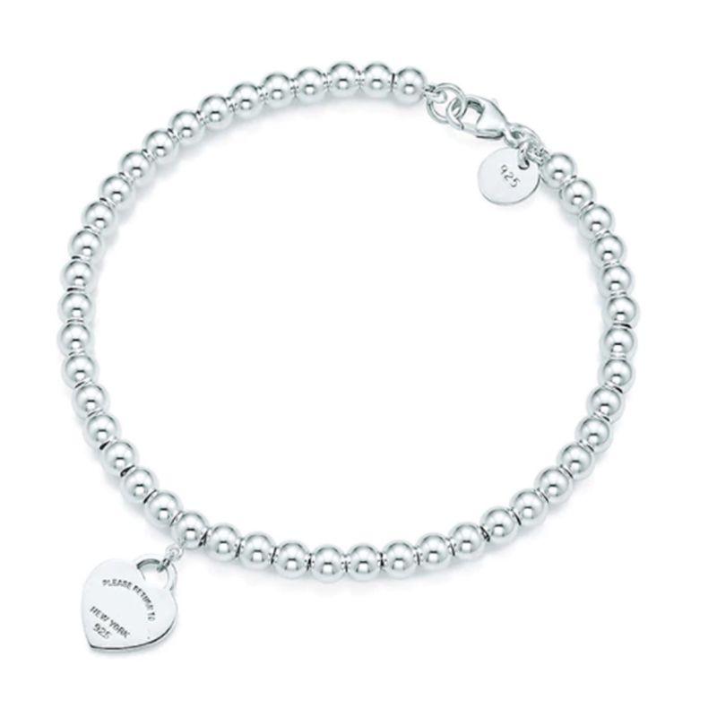 % 100 925 Gümüş kolye etiketi T hakiki Charm aşk Kalp boncuk bilezik Orjinal Kadın erkek Takı Kişilik Hediye bilezikler