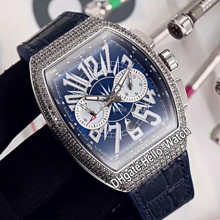 جديد Saratoge الطليعة التسجيل للصدأ حالة V45 CC DT YACHTING OG التلقائية الرجال ووتش الأزرق الهاتفي الحافة الماس الأزرق جلد الساعات Hello_Watch